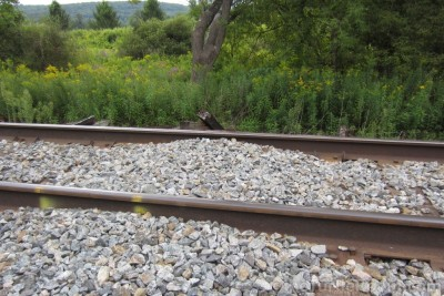 Train-tracks with raised gravel