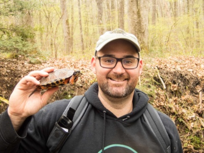Anthony Pierlioni with a Sub-adult Glyptemys insculpta (Wood Turtle), Lebanon County, PA