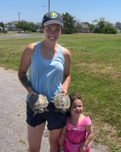 TheTurtleRoom's Casey Leone, Field Project Manager for the Terrapin Conservation Initiative and one of her daughters